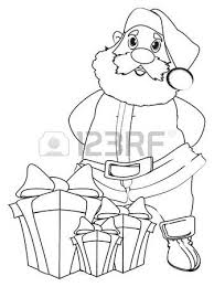 coloring santa claus stand gifts stock photo picture