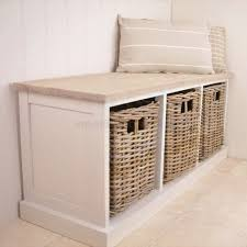 furniture endearing white wicker storage bench padded cushioned