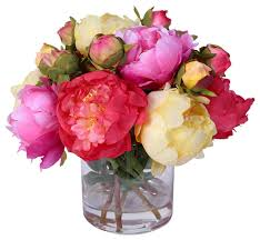 artificial flower silk peonies bouquet in glass vase with water