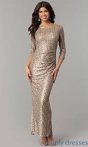 model dress gold formal dress with three quarter sleeves