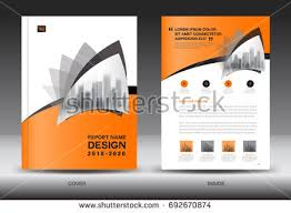 annual report brochure flyer template orange stock vector