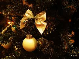 bow gold ornament tree image 92798 on favim