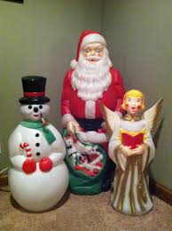 Outdoor Lighted Snowman Decorations by Vintage Outdoor Lighted Blow Molds Of Santa Snowman And A Angel