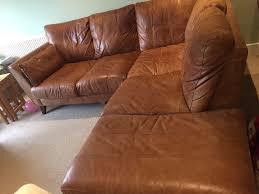 Second Hand Sofas Merthyr Tydfil Brown Leather Corner Sofa And Matching Armchair Dfs In Sunbury