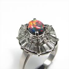 natural opal rings images Platinum 900 solid black opal ring kr073 JPG