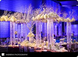Crystal Chandelier Centerpiece Raised Platforms Over Cascading Crystal Support Rows Of Flowers