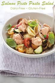salmon pesto pasta salad recipe dairy free gluten free option