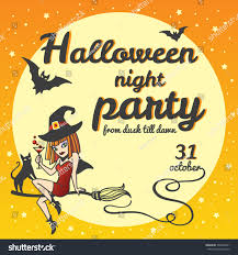 halloween party invitation cartoon style witch stock vector