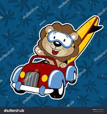 jeep with surfboard vector cartoon lion on car surfboard stock vector 718460080