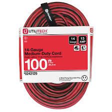 shop utilitech 100 ft 13 amp 120 volt 1 outlet 14 gauge red black