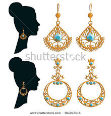 design of earing gold earrings stock images royalty free images vectors