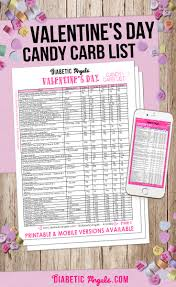 diabetic angels candy carb list valentines day edition
