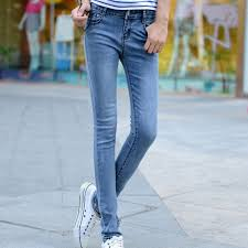 Light Colored Jeans Women Ladies Stretch Pencil Pants Casual Slim Fit Cotton