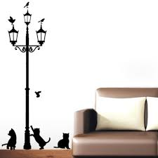 popular lamp wall stickers buy cheap lamp wall stickers lots from 3 little cat under street lamp diy wall stickers wallpaper art decor mural room wall decals