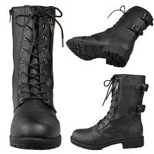 womens boots size 8 5 womens faux leather lace up zipper mid calf combat boots