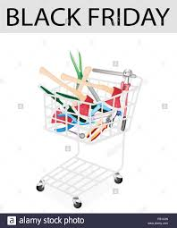 black friday tools black friday shopping cart full with carpenter craft tools axe