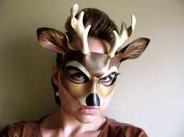 buck leather mask or child sizes deer his and hers