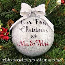 personalized our married glitter ornament by