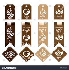 black tea package decorations tags ribbons stock vector 386456758