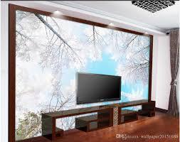 tv walls winter trees snow view tv walls mural 3d wallpaper 3d wall papers
