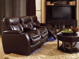 furniture dark brown leather sofa with recliner from lane