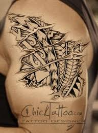 badass ripped skin polynesian style tattoo design by chicktattoo
