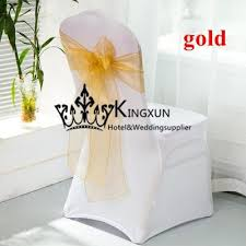 Gold Chair Sashes For Wedding White Lycra Spandex Chair Cover With Gold Color