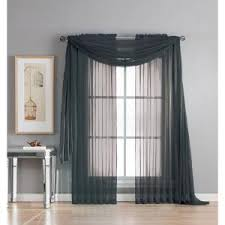 Black Scarf Valance Window Elements Diamond Sheer Voile 56 In W X 216 In L Curtain