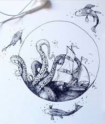 drawn octopus ship pencil and in color drawn octopus ship
