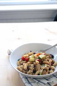 antipasto pasta salad with chickpeas olives and roasted