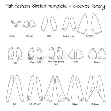 flat templates sketches sleeves library stock illustration