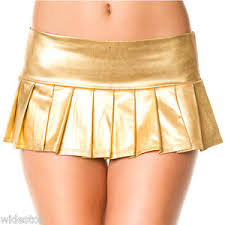 micro skirt metallic golden micro mini skirt pleated skirt school