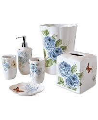 Blue And White Bathroom Accessories by Lenox Blue Floral Garden Bath Collection Bathroom Accessories