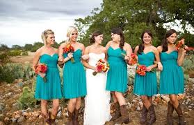 bouquets homespun orange red yellow bridesmaid dresses short