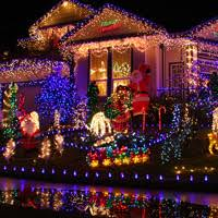 Outdoor Colored Christmas Lights by Synchronized Display Jpg
