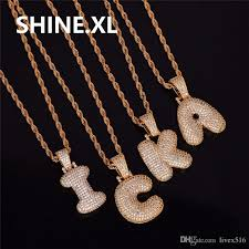 silver necklace with letters images Men 39 s hip hop gold silver color copper cubic zirconia custom name jpg