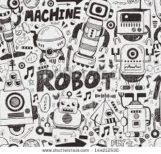 pattern drawing illustrator seamless robot pattern illustrator line tools stock vector 144212530