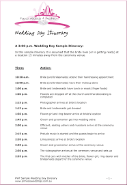 wedding itinerary wedding itinerary template ceremony sle necessary pictures
