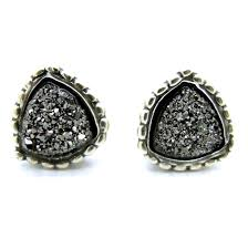 druzy stud earrings druzy stud earrings set in sterling silver triangle shape