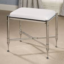 square stainless steel bathroom vanity stool with white fabric