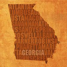 Georgia State Map by Word Art State Map On Canvas Mixed Media By Design Turnpike