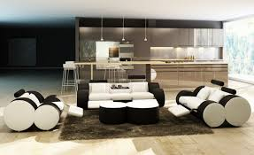 Leather Sofa Sets For Living Room by Casa 3089 Modern White And Black Leather Sofa Set And Ottoman