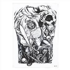 1pc body art tattoo ghost hunter zhong kui skull pattern temporary