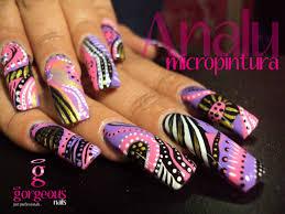 mexican nail style uñas en micro pintura acrilica realizadas por