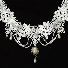 white lace choker necklace images Elegant design fashion short chain necklace white lace choker jpg