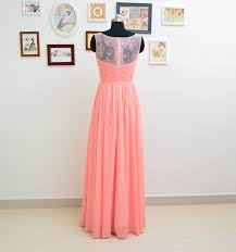 illusion neckline coral lace bridesmaids dresses