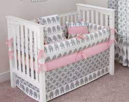 pink elephant crib bedding etsy