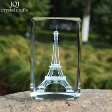 3d laser engraved eiffel tower 3d cube crafrs glass