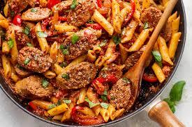 pasta recipes sausage pasta skillet recipe eatwell101