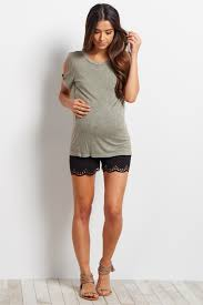 maternity shorts black scallop maternity shorts